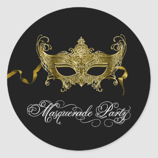Black Gold Masquerade Party Stickers