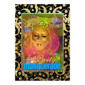 "Black gold ""masquerade party"" venetian carnival 13 cm x 18 cm invitation card"