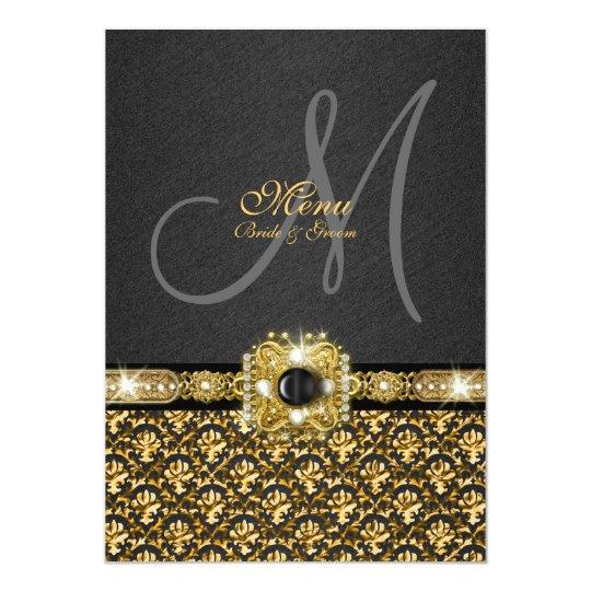 Black gold menu damask wedding template card