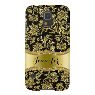 Black & Gold Metallic Floral Damask Galaxy S5 Covers