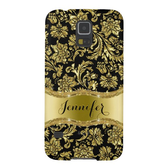 Black & Gold Metallic Floral Damask Galaxy S5