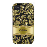 Black & Gold Metallic Floral Damasks-Customised Case-Mate iPhone 4 Covers
