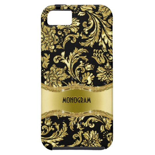Black & Gold Metallic Floral Damasks-Customised iPhone 5