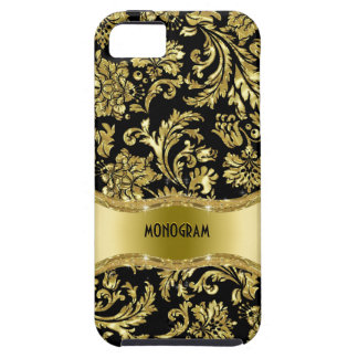 Black Gold Metallic Floral Damasks-Customized iPhone 5 Covers