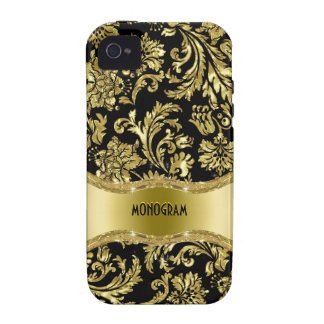 Black Gold Metallic Floral Damasks-Customized Case-Mate iPhone 4 Covers