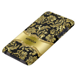 Black & Gold Metallic Floral Damasks-Customized Case-Mate iPod Touch Case
