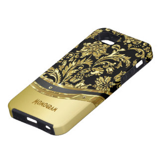 Black & Gold Metallic Look With Damasks iPhone 5 Covers