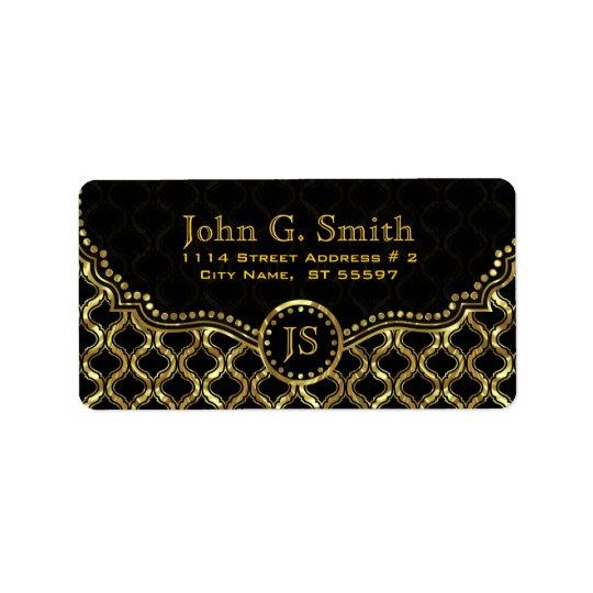 Black & Gold Metallic Quatrefoil Pattern Address Label