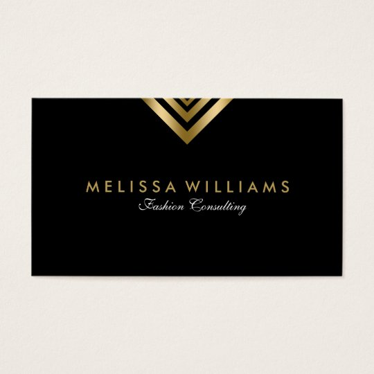 Black & Gold Modern Geometric Accents Business Card