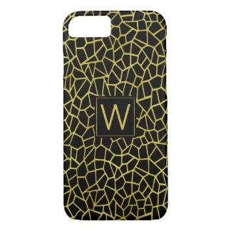 Black Gold Monogram Art Deco Upscale Luxury iPhone 7 Case