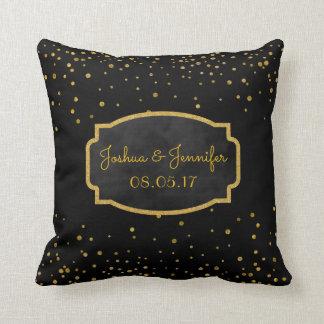 Black Gold | Monogram Chalkboard Wedding Keepsake Cushion