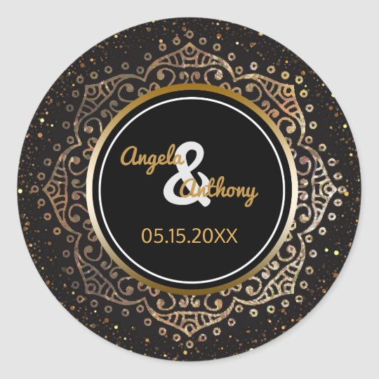 Black Gold Monogram | Floral Mandala Wedding Classic