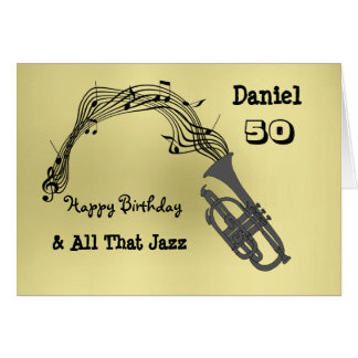 Black Gold Music Themed Happy Birthday Card