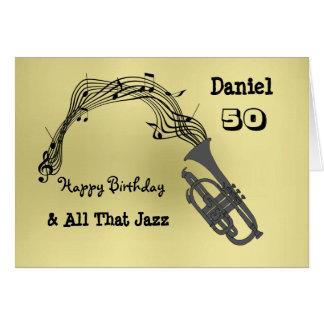 Black Gold Music Themed Happy Birthday Greeting Card