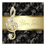 Black Gold Music Treble Clef Recital 13cm X 13cm Square Invitation Card