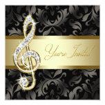 Black Gold Music Treble Clef Recital Invitations