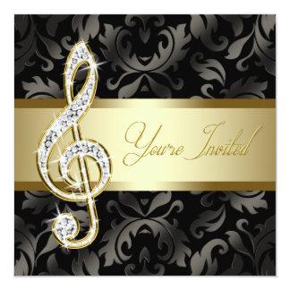 """Black Gold Music Treble Clef Recital Invitations 5.25"""" Square Invitation Card"""