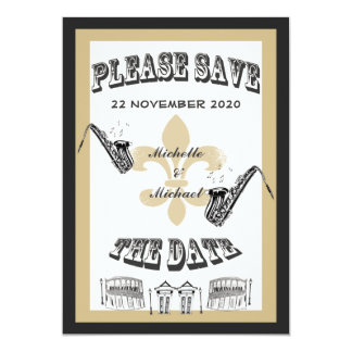 Black Gold New Orleans Jazz Save the Date Personalized Invite