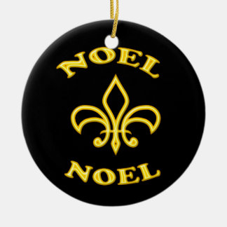 Black Gold Noel Fleur de Lis Christmas Ornament