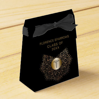 Black Gold Nurse Graduation Caduceus Favour Box