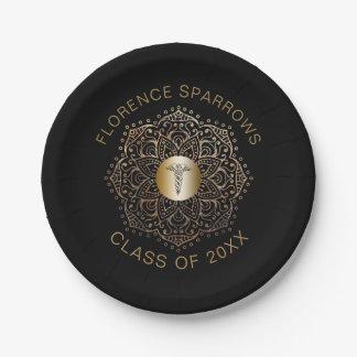 Black Gold Nurse Graduation Caduceus Symbol Paper Plate