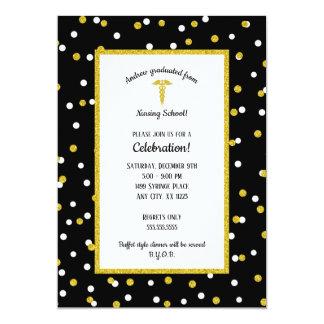Black Gold Nurse graduation party, neutral gender Card