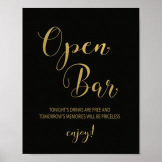 Black & Gold Open Bar Sign Poster