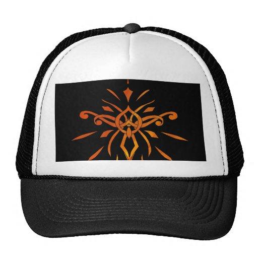 Black Gold Orange Starburst Dramatic Design Hat