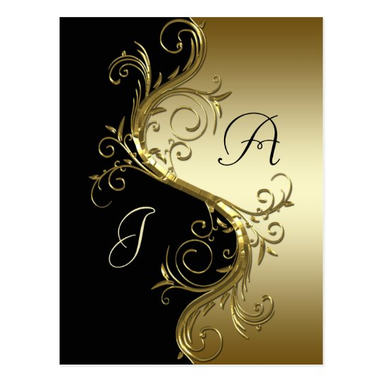Black Gold Ornate Swirls Save The Date Postcard