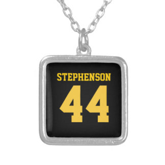Black Gold Personalized Sports Name Number Silver Plated Necklace