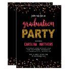 Black Gold Pink Confetti Graduation Party Invite