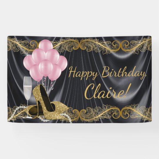 Black Gold Pink High Heel Shoe Birthday Banner