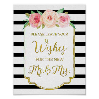 Black Gold Pink Watercolor Floral Guest Book Sign Poster