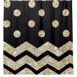 Black & Gold Polka Dot and Chevron Shower Curtain