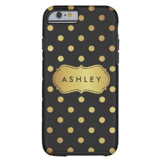 Black Gold Polka Dots Pattern - Luxury Glitter Tough iPhone 6 Case
