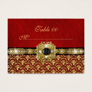 "Black gold red damask ""table number"" wedding business card"