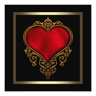 "Black Gold Red Heart Wedding 5.25"" Square Invitation Card"