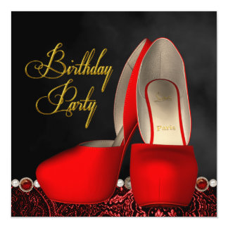 "Black Gold Red High Heel Shoes Birthday Party 5.25"" Square Invitation Card"