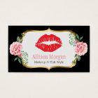 Black Gold Red Lips Flowers Makeup Artist Beauty Business Card