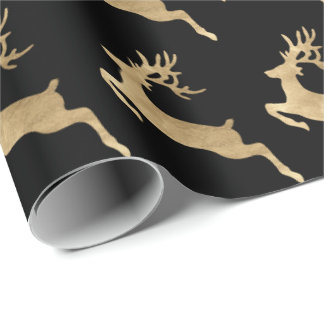 Black Gold Reindeer Holidays Christmas Delicate Wrapping Paper