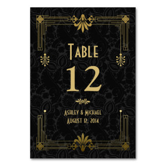Black Gold Roaring 20s Art Deco Wedding Table Cards