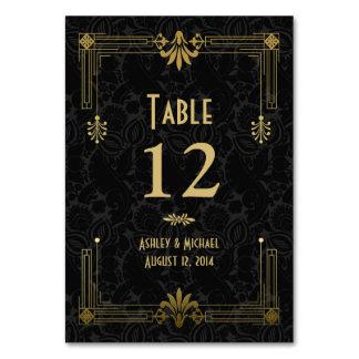 Black Gold Roaring 20s Art Deco Wedding Table Cards