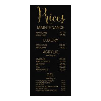 Black & Gold Salon Menu Price List Cards Customized Rack Card