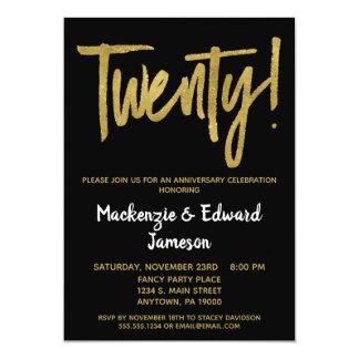 Black Gold Script 20th Anniversary Invitation
