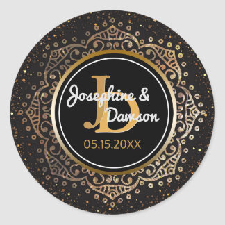 Black Gold Script Monogram | Mandala Wedding Favor Round Sticker