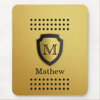 Black Gold Shield Monogram Name Star Pattern Manly Mouse Pad