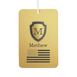 Black Gold Shield USA Flag Monogram Name Manly Car Air Freshener