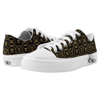 Black Gold Shiny Geometric Pattern Elegant Printed Shoes