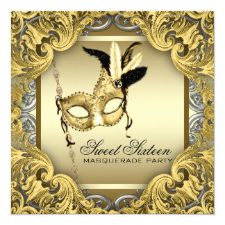 Black Gold Silver Sweet Sixteen Masquerade Party Card