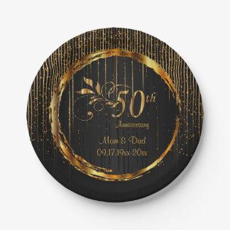 Black & Gold Sparkle 50th Wedding Anniversary Paper Plate
